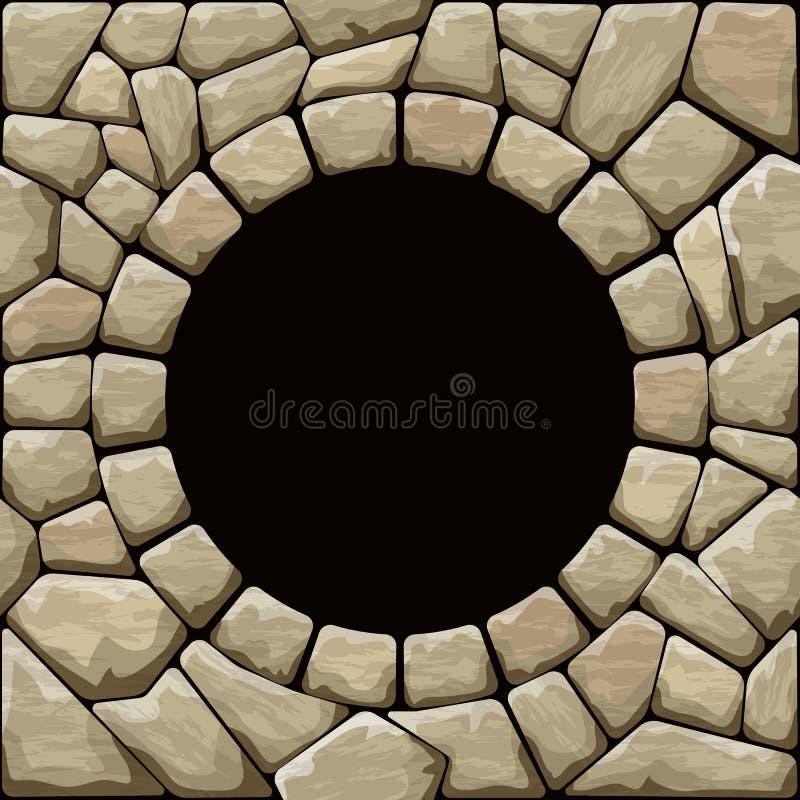Stone seamless pattern. Vector illustration of brown stone seamless pattern with round frame vector illustration