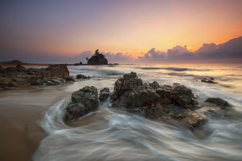 Stone In Seashore During Sunset Free Public Domain Cc0 Image