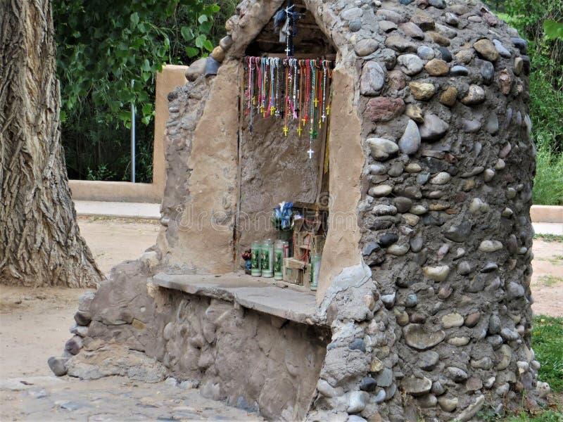 Stone shrine, Chimayo, New Mexico stock image
