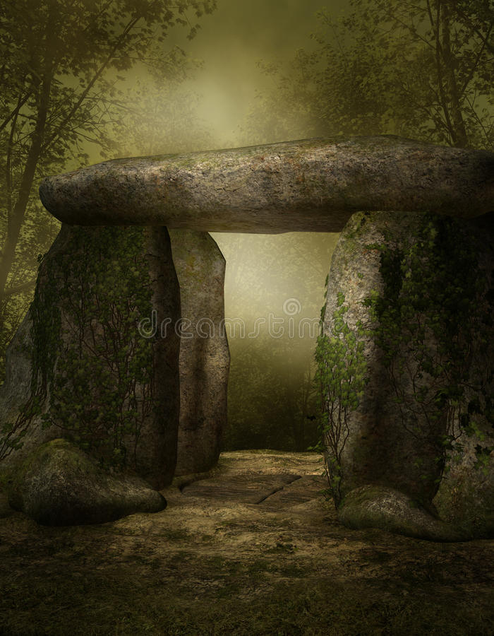 Stone shrine in a forest vector illustration