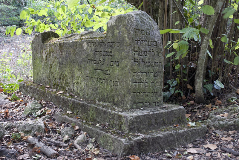 Stone slab with inscriptions. In the forest stock photo
