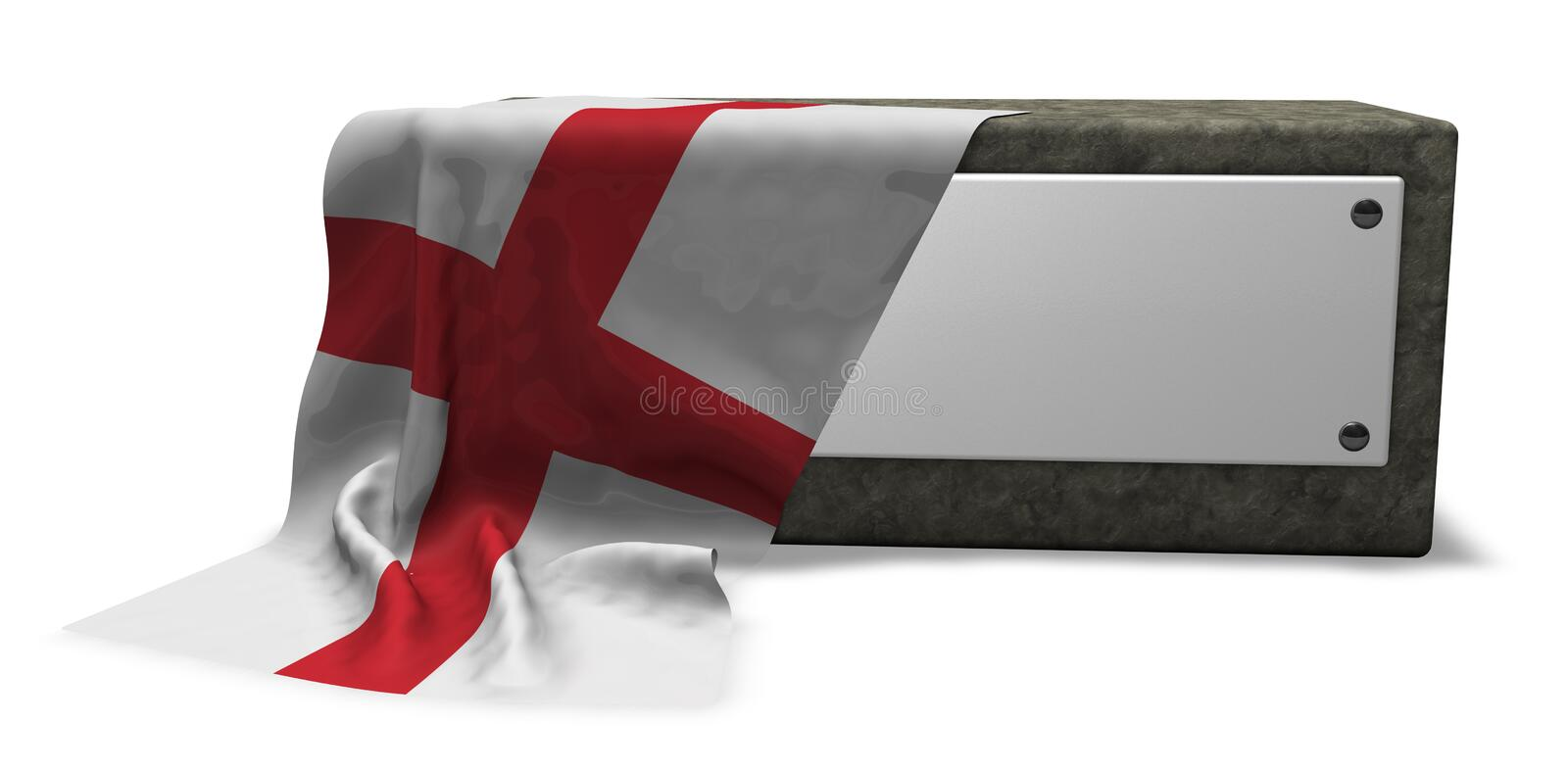 Stone socket and flag of england royalty free illustration