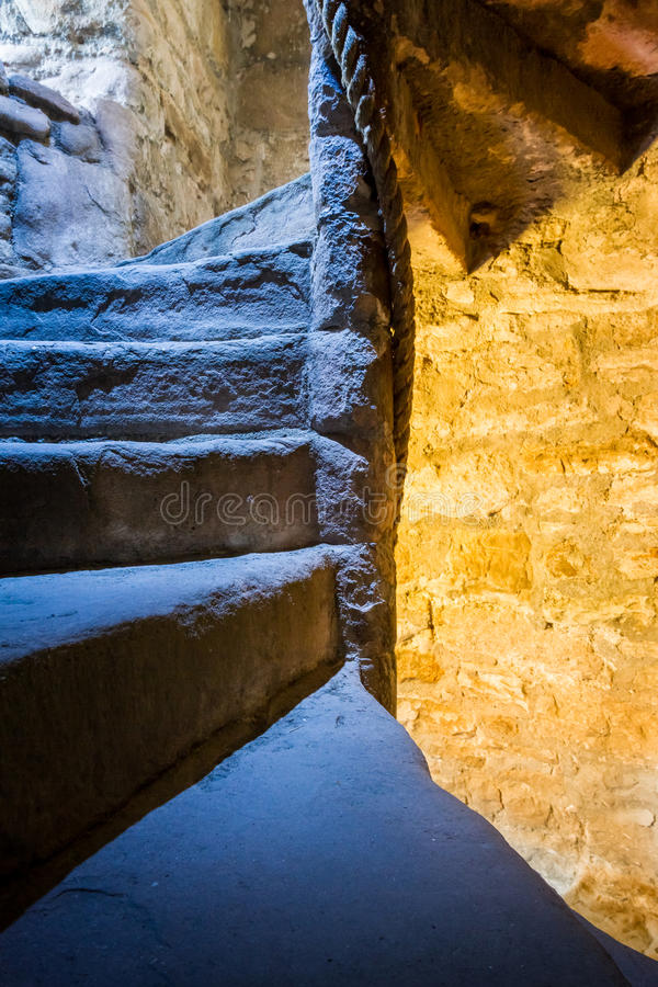 Stone Spiral Stairway in the Castle royalty free stock image