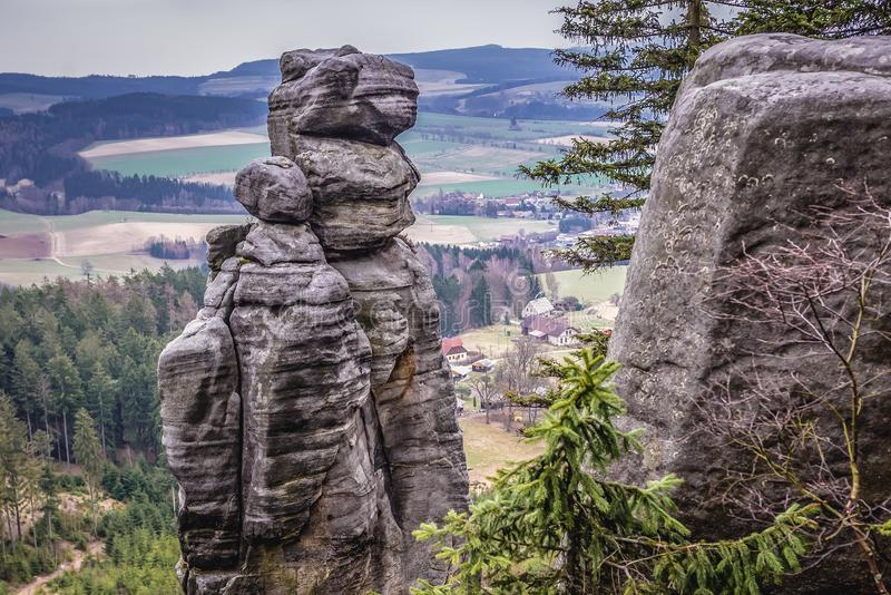 Ostas in Czech Republic. Stone stack in Mount Ostas reserve in Table Mountains, part of Broumovsko protected area, Czech Republic, central, sudetes, czechia stock image