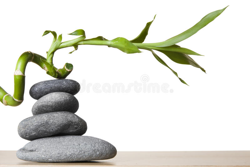 Stone Stack and Spiral Bamboo stock photo
