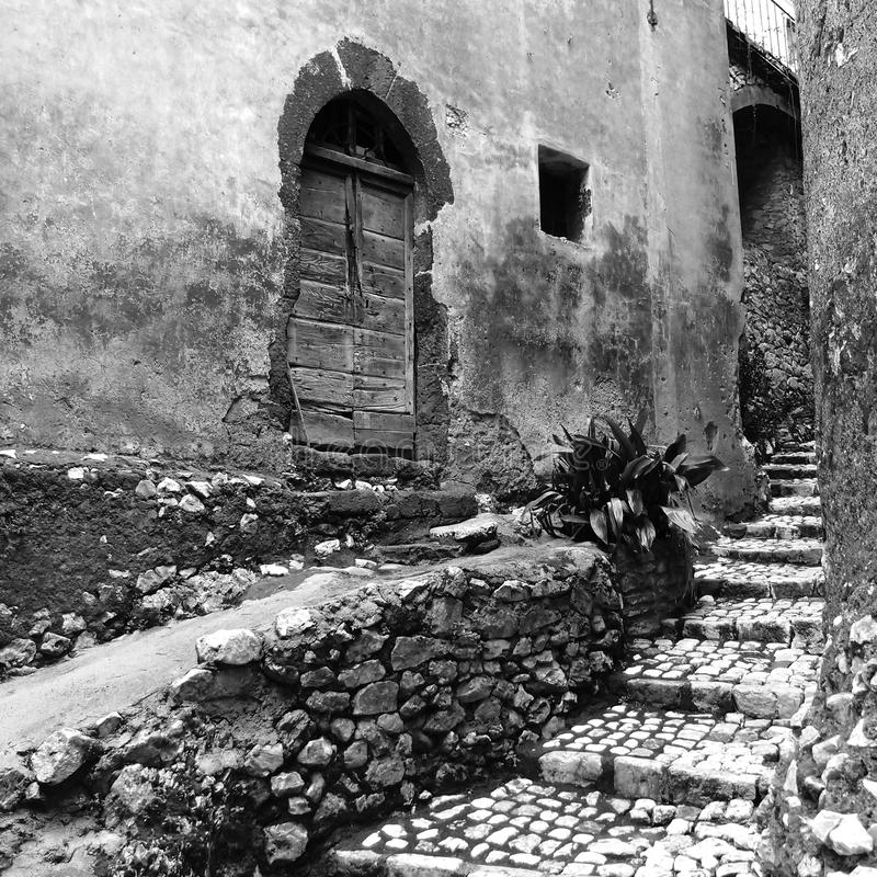 Stone staircase. Old alley with a stone staircase in Segni, Italy stock photo