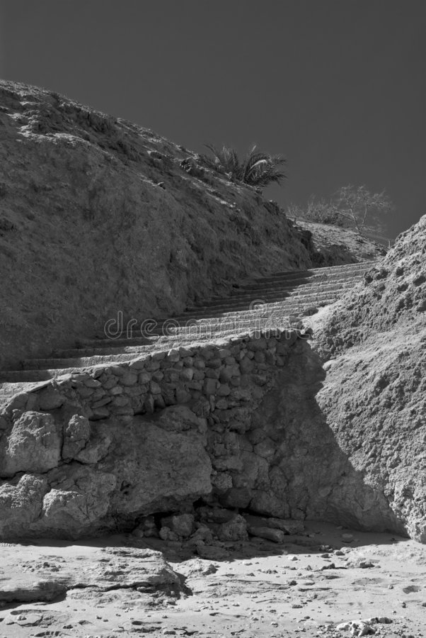 Stone staircase. Black and white image of a stone staircase stock photography