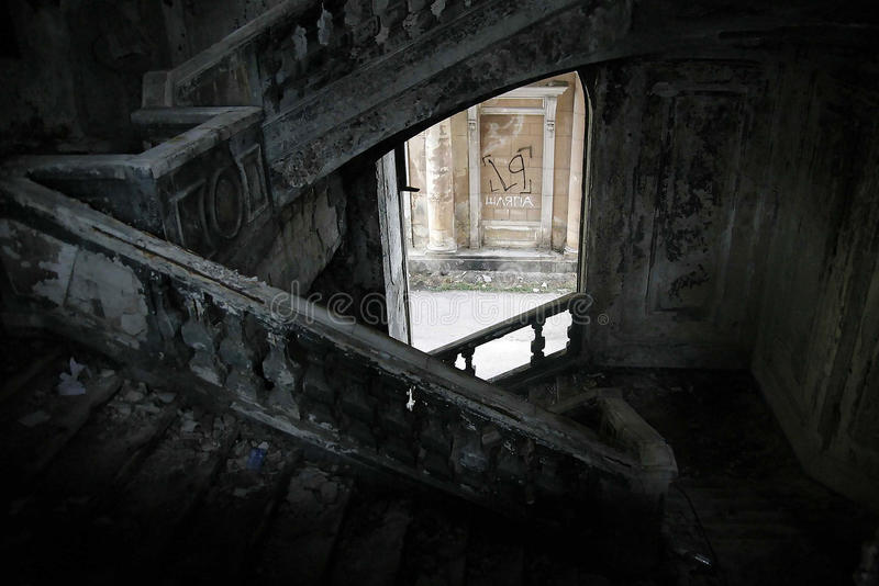Stone staircase in an abandoned building, hat royalty free stock photos