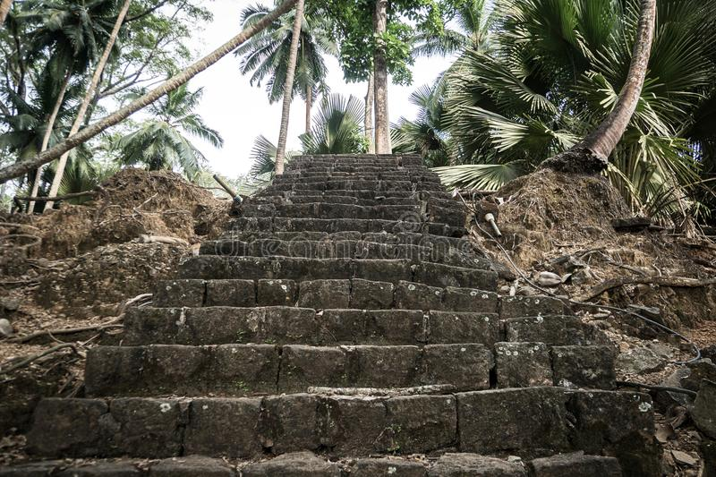 A stone staircase in the jungles of Ross island. India Andaman and Nicobar Islands royalty free stock images