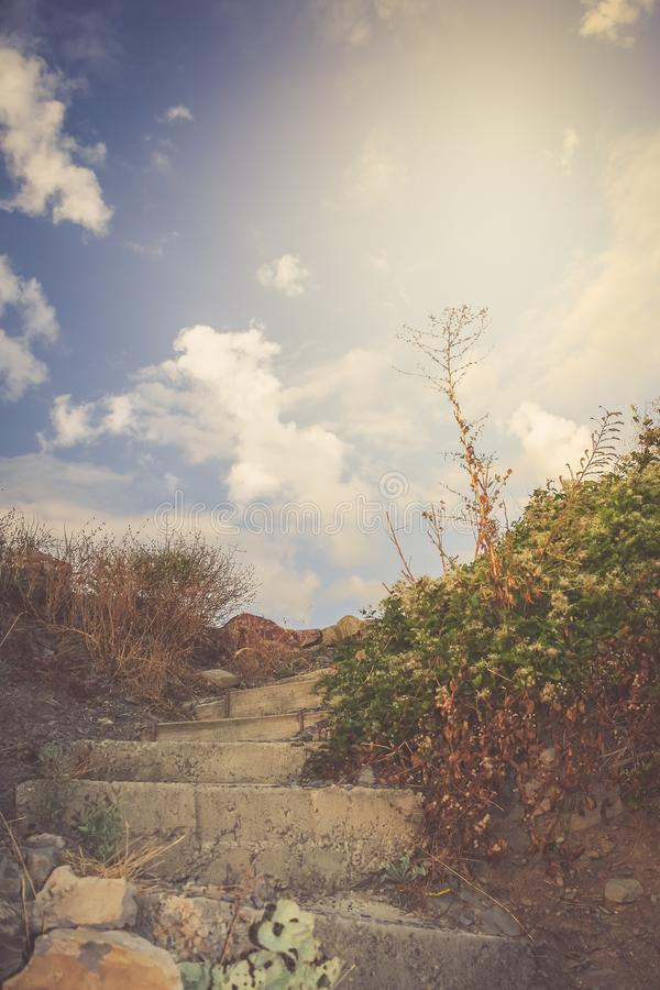 Stone staircase, rising to the sky. Toned image. royalty free stock image