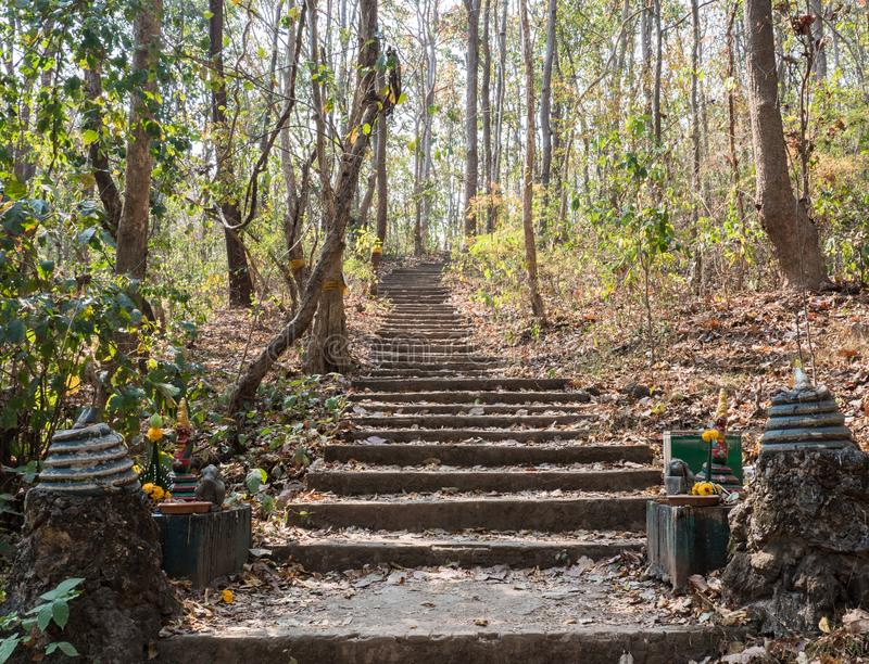 Stone staircase to temple on the high mountain. Stone staircase near the entrance to the temple on the high mountain royalty free stock photography