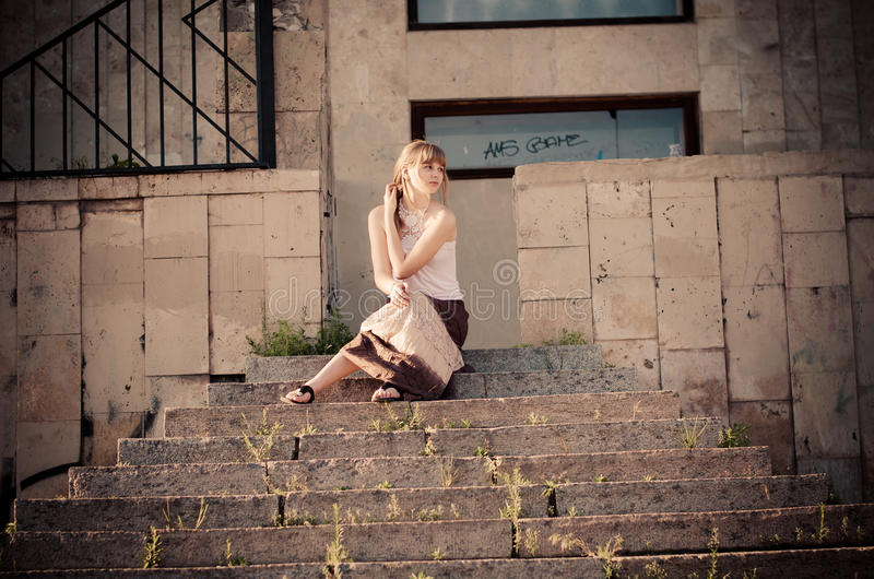 Download On The Stone Stairs Royalty Free Stock Photos - Image: 24853158