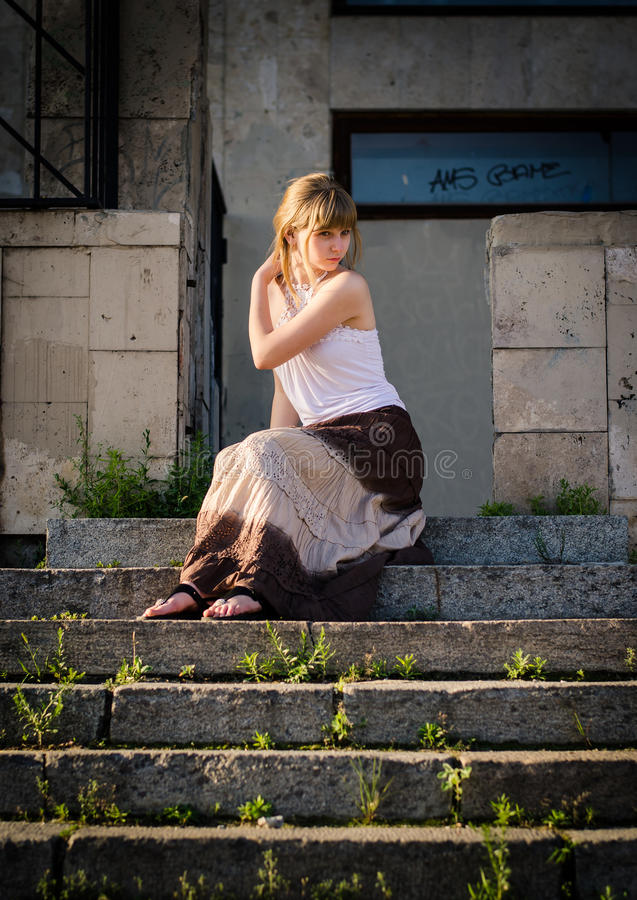 Download On The Stone Stairs Stock Photography - Image: 24894862