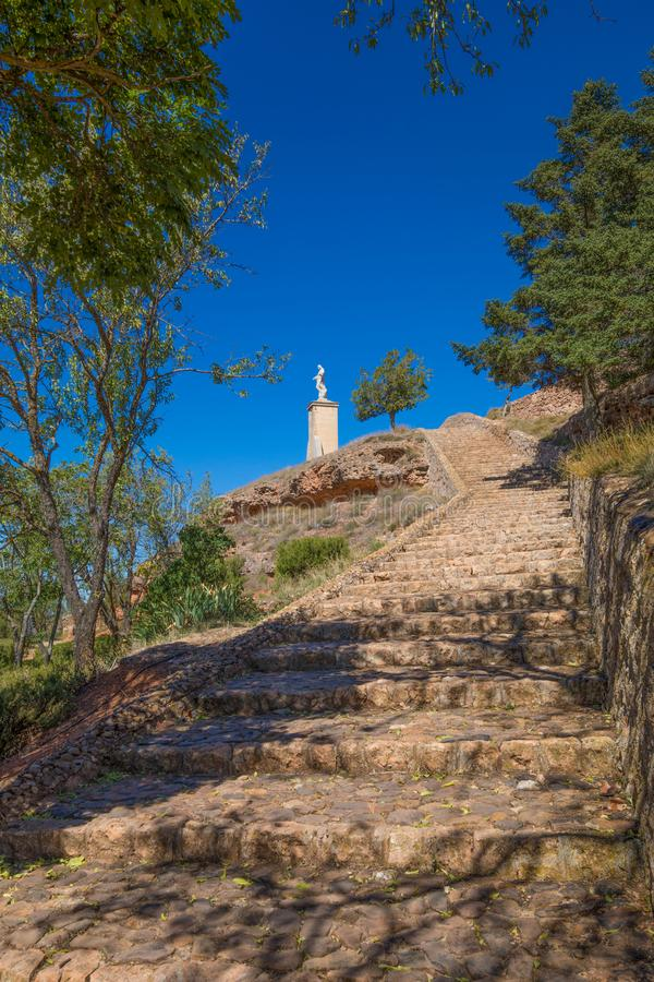 Stairs to Jesus Christ in the top of Ayllon village stock image