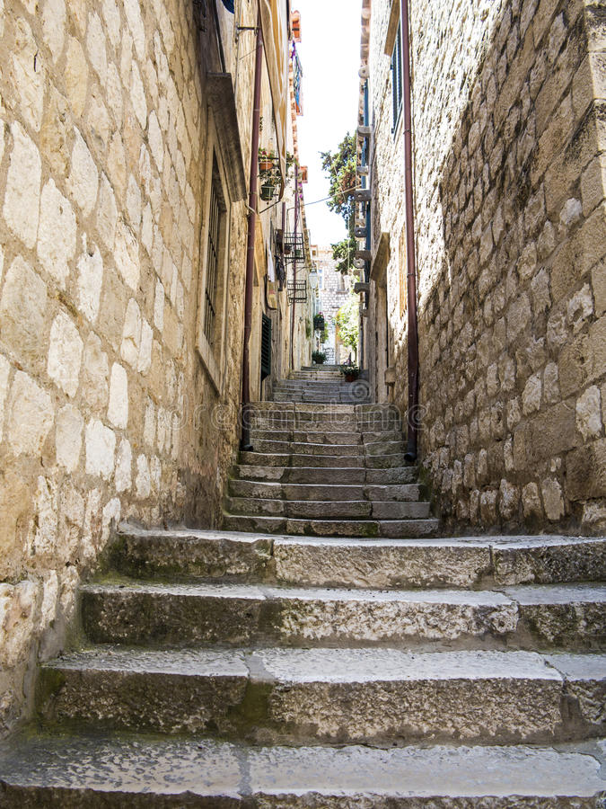 Stone stairs in Dubrovnik old town royalty free stock photos