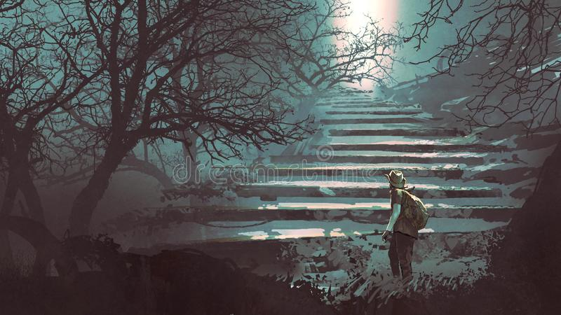 Stone stairs in the mysterious forest. Man climbing stone stairs in the mysterious forest, digital art style, illustration painting vector illustration