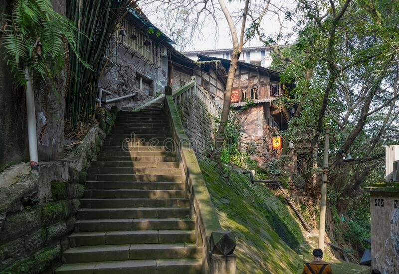 Stone stairs to traditional houese at Ciqikou Porcelain Port royalty free stock photo