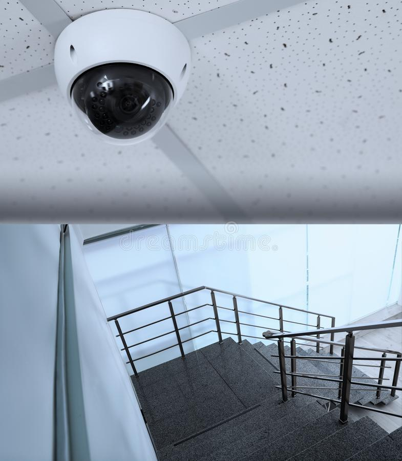 Stone stairs under CCTV camera surveillance. Above view royalty free stock photo