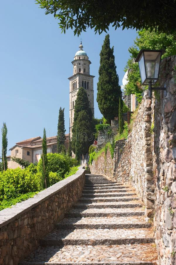 Stone stairway to the church stock images