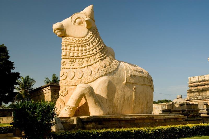 Stone statue in ancient hindu temple. This is nandi stone statue in Gangai Konda Cholapuram temple royalty free stock photo