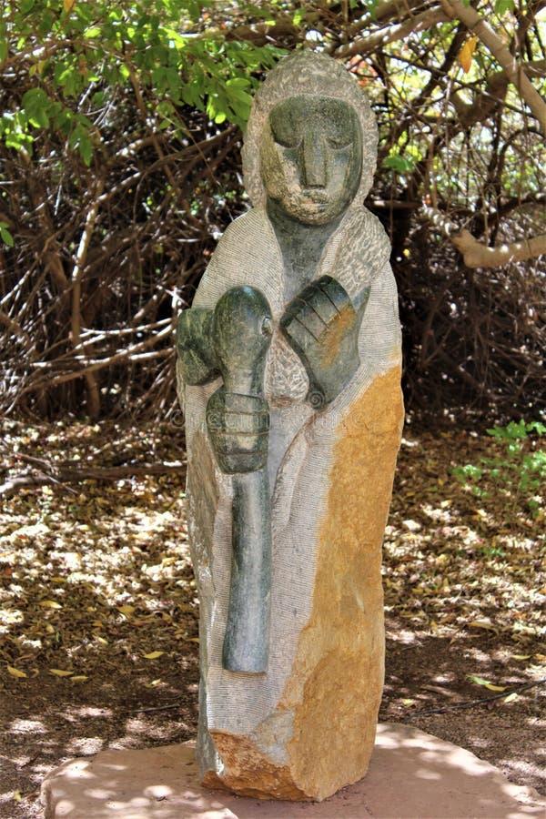 Boyce Thompson Arboretum State Park, Superior, Arizona United States. Stone statue at Boyce Thompson Arboretum State Park located at Superior Arizona in the stock photo