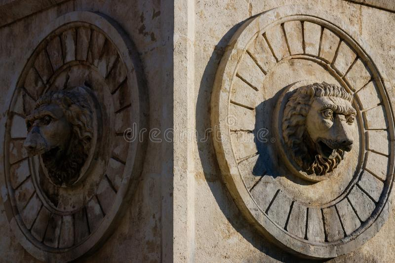 Stone statues on on a fountain in the center on Belgrade royalty free stock photography