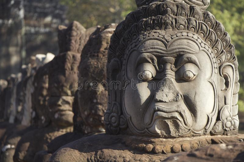 Stone Statues. With replacement pieces as the statues fall apart royalty free stock photo