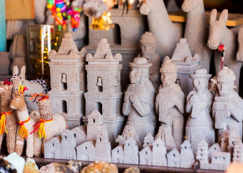 Stone statues in the shop in San Pedro de Atacama, Chile. With selective focus.  royalty free stock photos