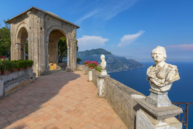 Stone statues on sunny Terrace of Infinity in Villa Cimbrone above the sea in Ravello, Amalfi Coast, Italy royalty free stock photos
