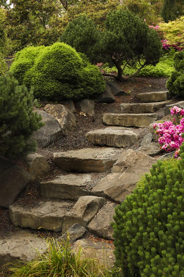 Stone steps arranged as a path way to the garden. royalty free stock photo