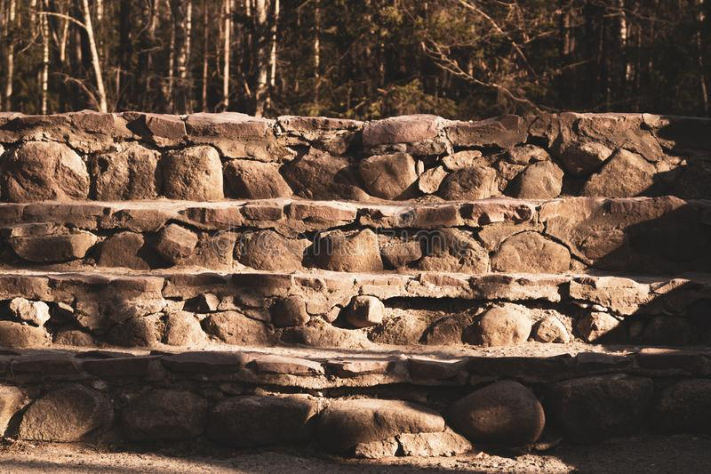 Stone steps ladder. stairs from natural stones in the park stock photos