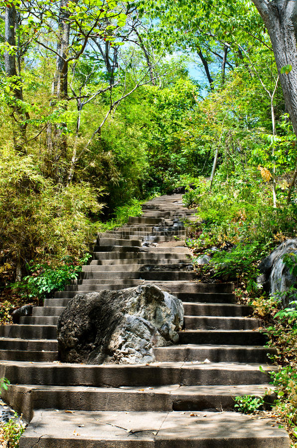 Stone Steps Leading Up Hill Stock Image