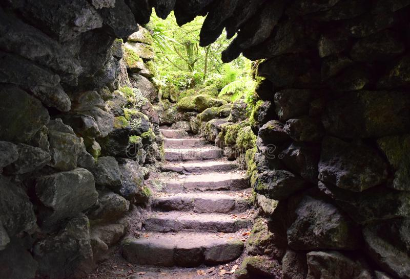 Stone steps leading upwards as seen through a secret exit in a stone grotto. Stone steps lead out of a secret doorway in a stone garden grotto into mysterious royalty free stock photos