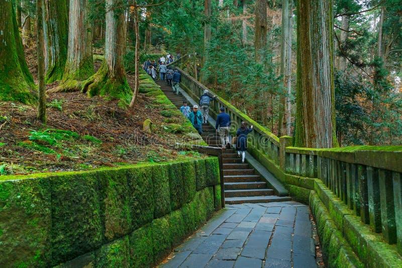 Stone steps to the tomb of Tokugawa Ieyasu in Tosho-gu shrine royalty free stock photo