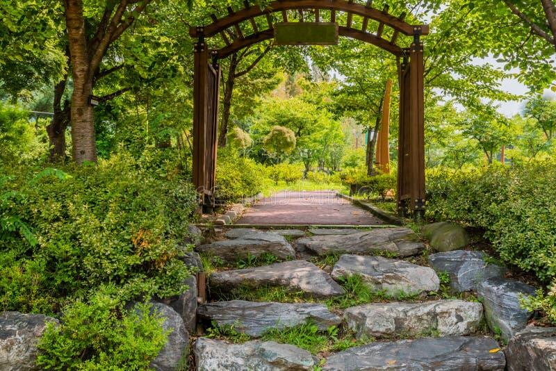 Stone steps to walkway stock image