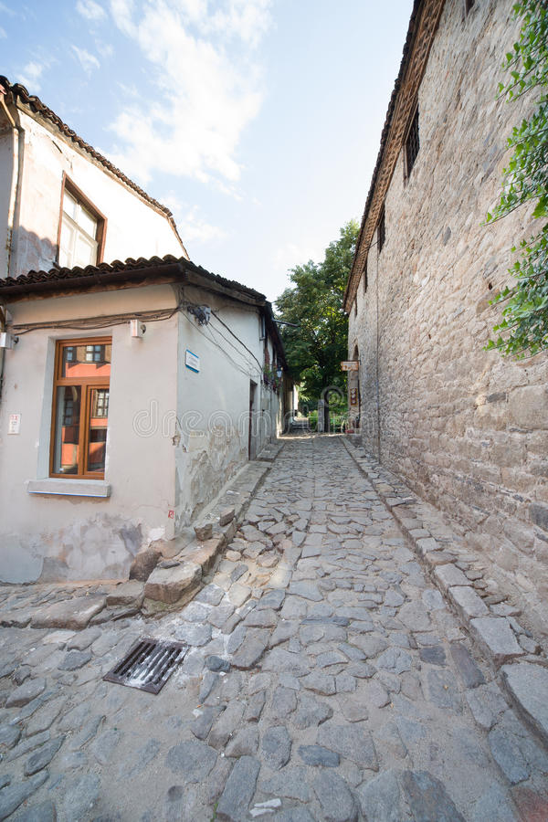 Stone street in the ancient Plovdiv in Bulgaria royalty free stock image
