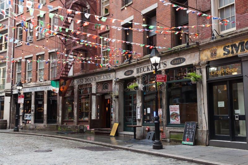 Stone Street Restaurants stock photo