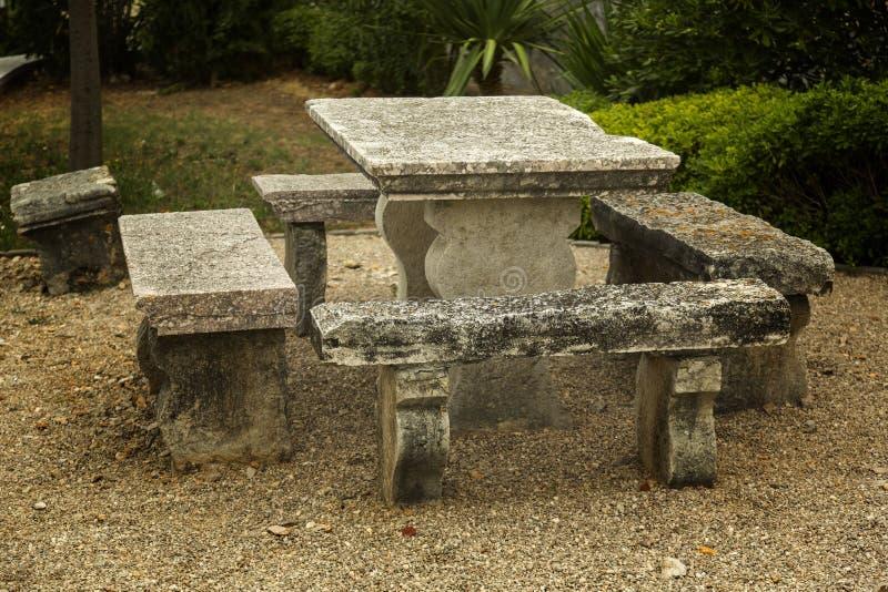 Stone table stock photos