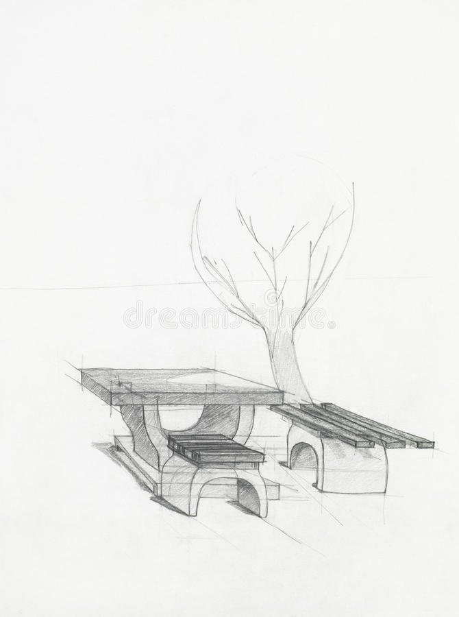 Stone Table And Benches In Park