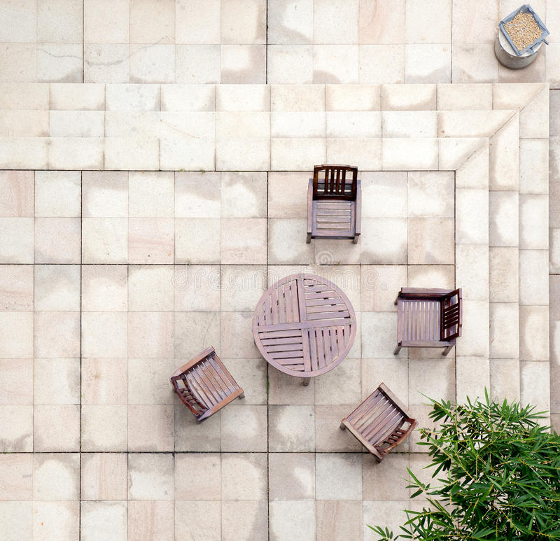 Stone terrace in the courtyard royalty free stock image