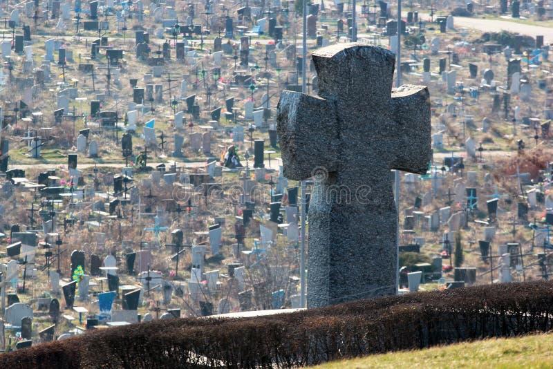Stone Teutonic cross on German military cemetery in Kharkov, Ukraine stock photo
