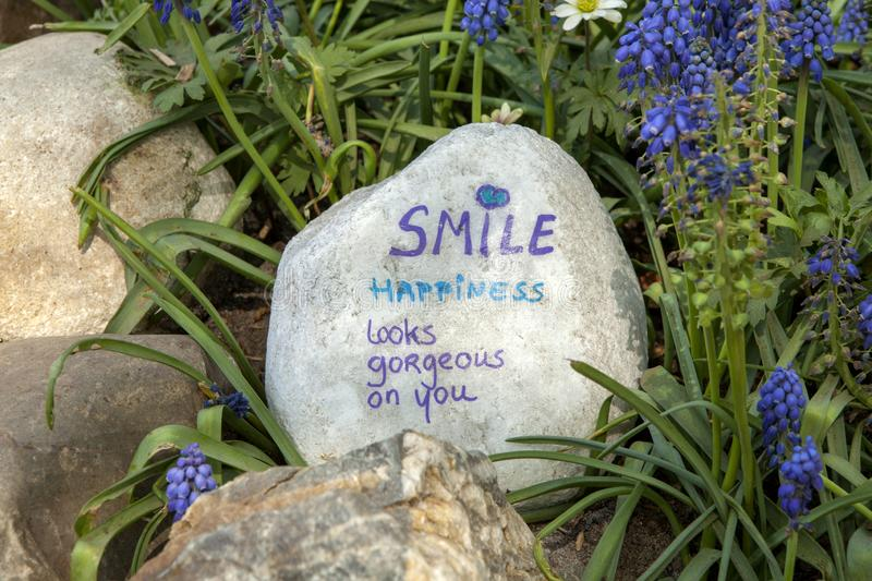 """Stone with text. """"Smile happiness looks gorgeous on you"""". Surrounded bij nature royalty free stock image"""