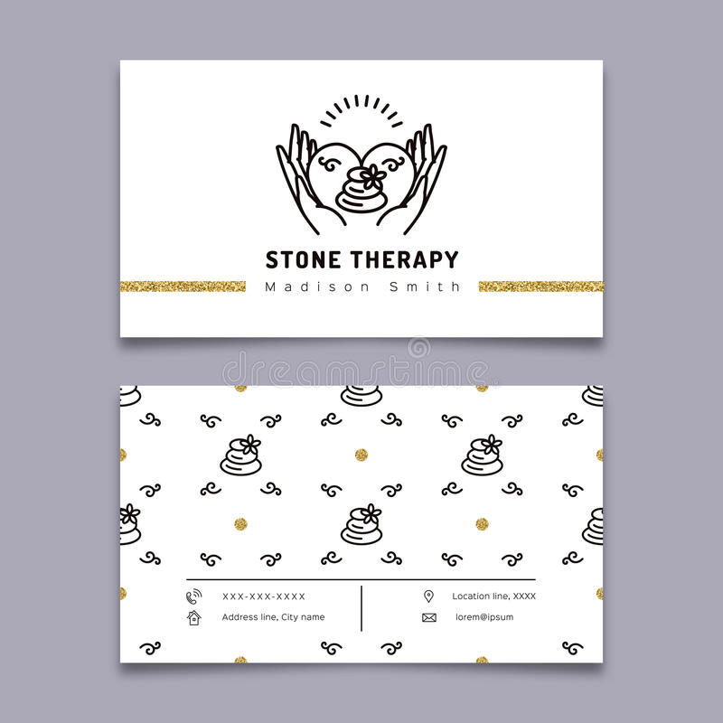 Stone therapy business card. Massage, beauty spa, relax, natural medicine. Vector stone therapy business card template. Stone massage, beauty spa, relax and royalty free illustration