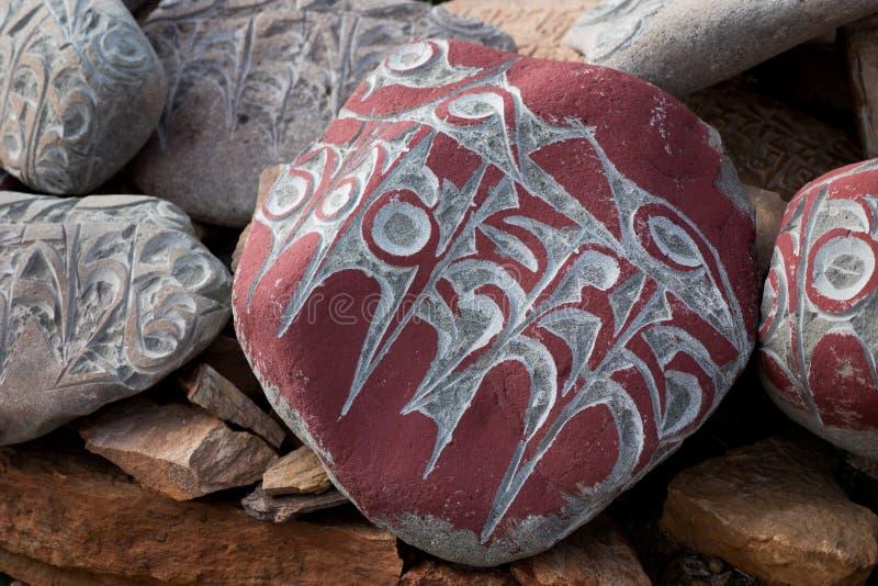 Stone with tibetian mantras Tibet. Kailash Yantra.lv 2016 TIBET stock image