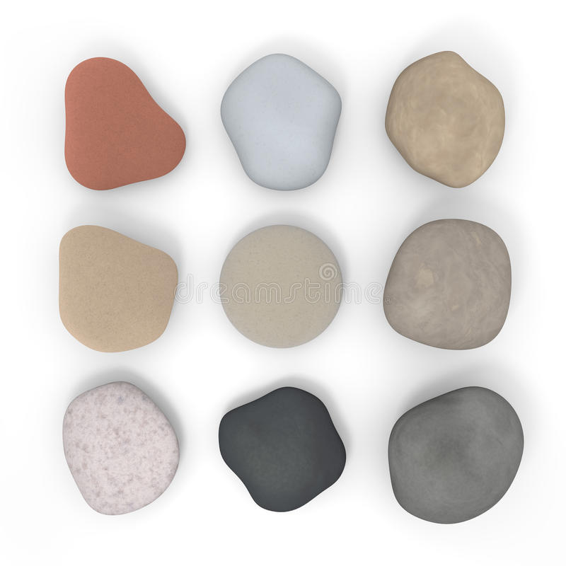 Stone. To arrange a stone which has been picked up. Stone in the shape variety stock illustration