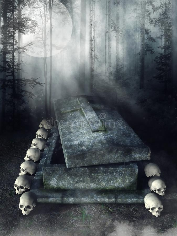 Stone tomb with skulls. Forest scenery with an old stone tomb and skulls royalty free illustration