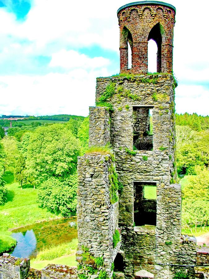 Stone tower at Blarney Castle stock image