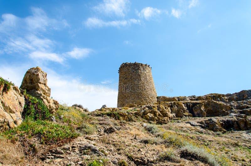 Stone tower in Corsica stock photos