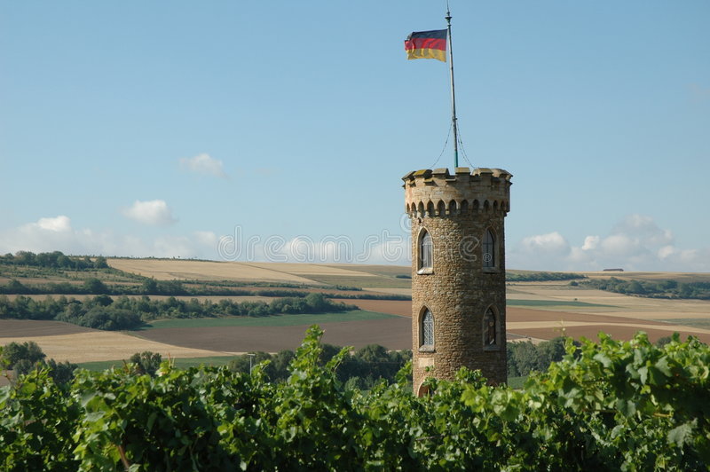 Download Stone tower and fields stock image. Image of window, flag - 319215