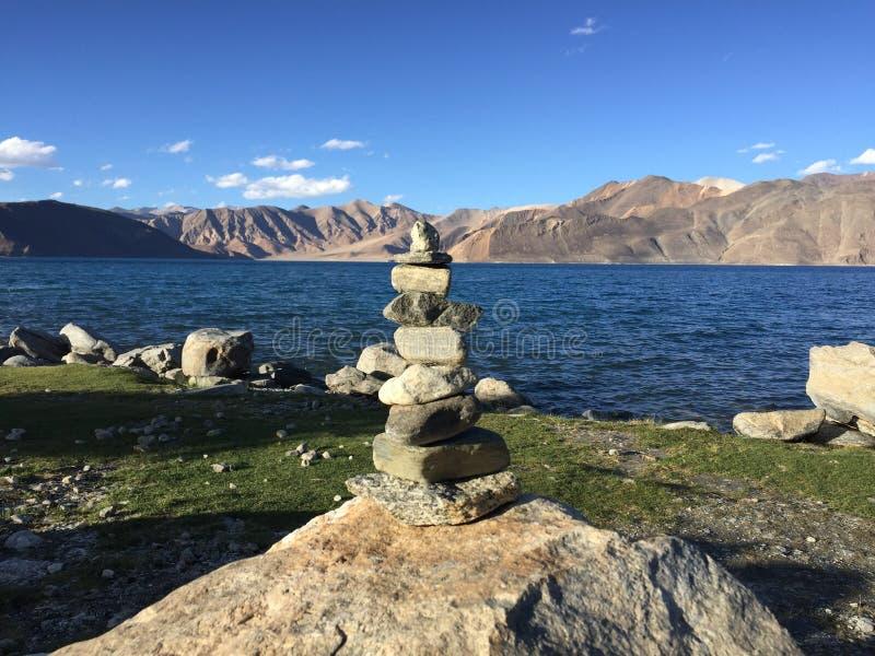 Stone tower Zen - Pangong Lake stock image